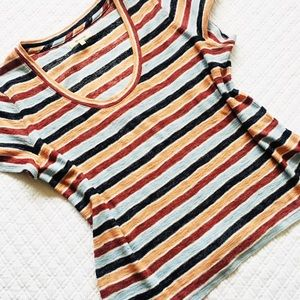 Madewell Blue Striped Cotton Poly Top